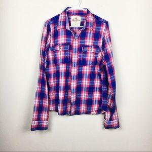 Soft Flannel Plaid Blue and Pink Button Up Size M